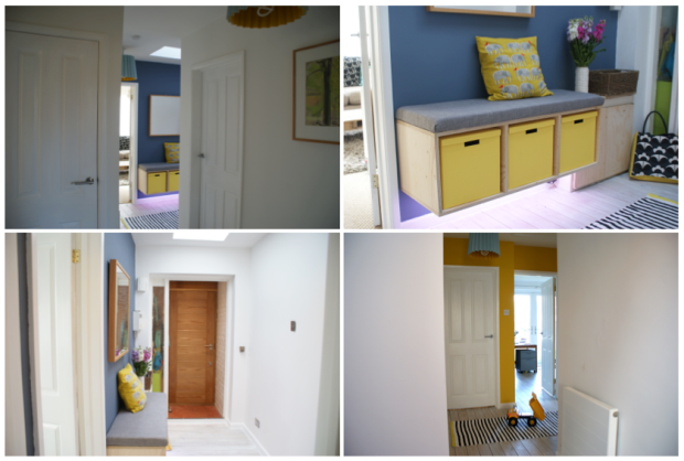 Our hallway using 'Juniper' and 'Mister David' colours from the Little Greene company