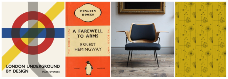 L-R London Underground By Design, Penguin Cover, Robin Day Chair & Lucienne Day print.