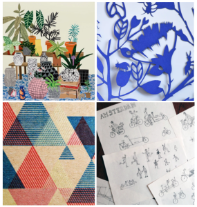 L-R: Jonas Wood plant studies, deep blue Love Bugs paper cutting, Marisa Hopkins pattern and work-in-progress map sketches of Amsterdam. All images from Le Blog