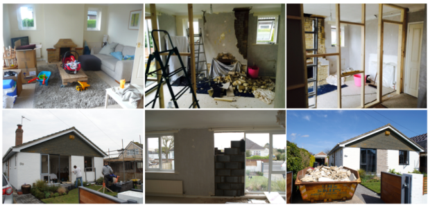Photos L-R The day we moved in, removing the fireplace brick by brick, putting up the partition wall, partially bricking up the front window and replacing the windows. That was one full skip!