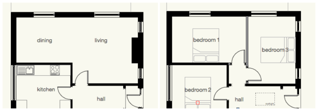 Existing and proposed plans which show the changes we made to the doors, windows and walls to create two rooms.